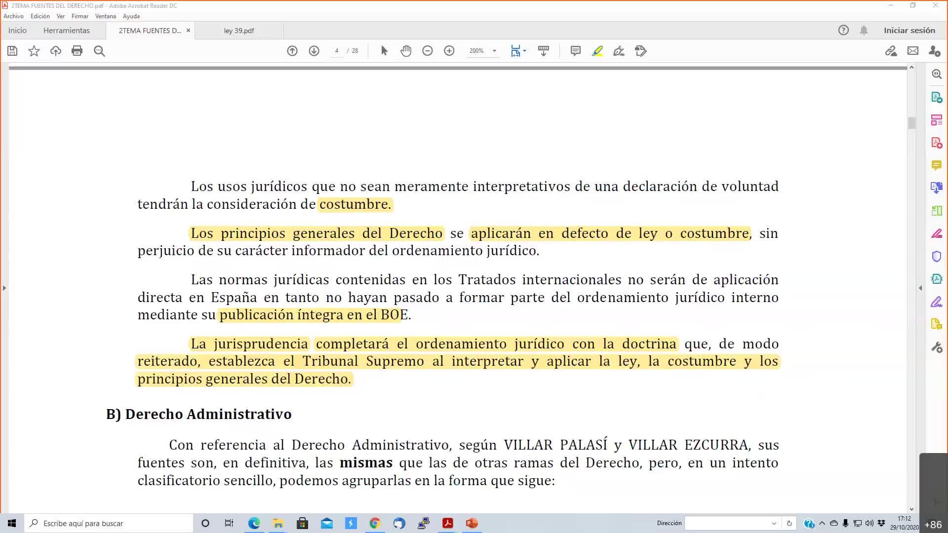 Fuentes del Derecho 29-10-2020