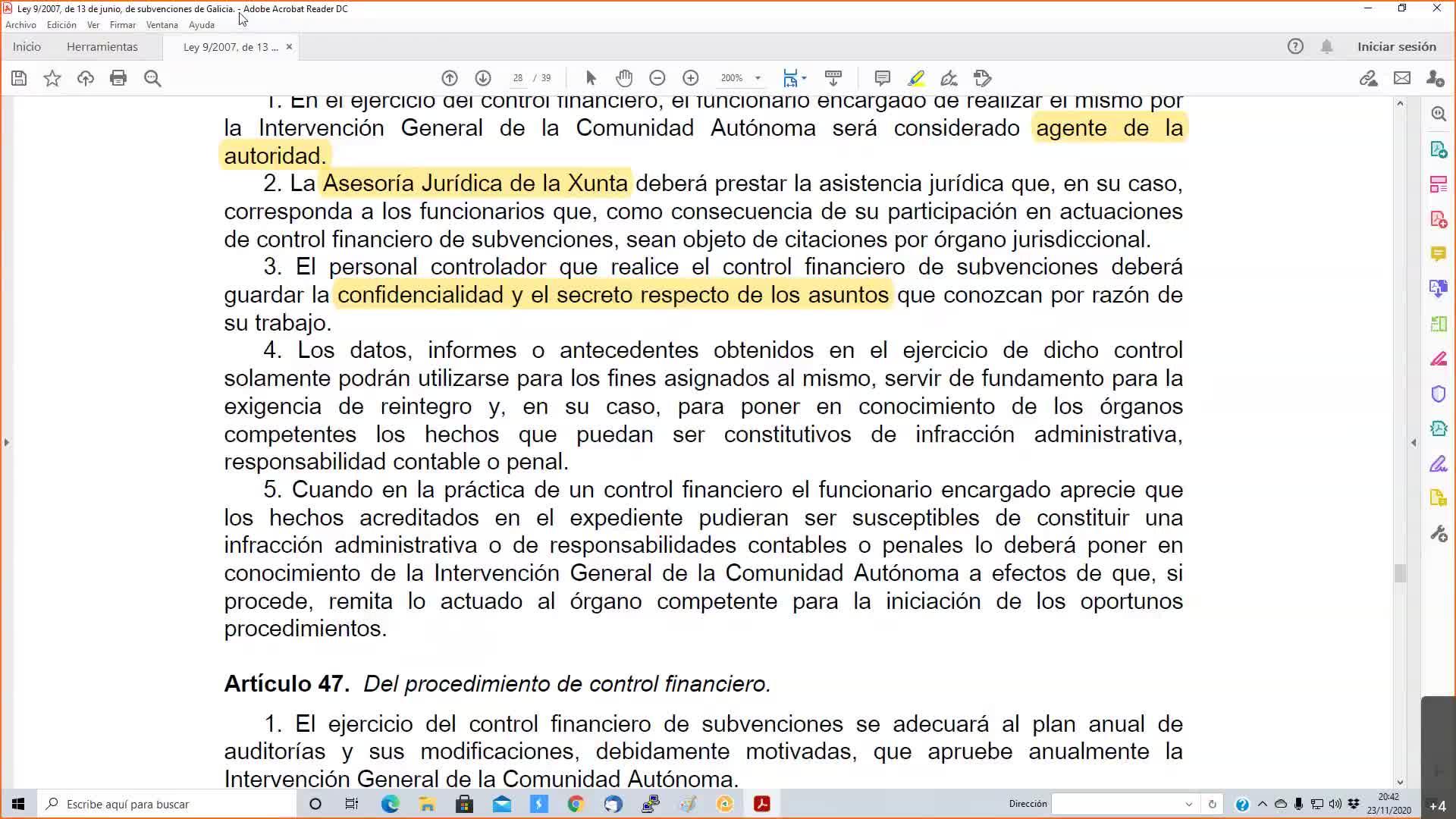 Subvencions gestión galicia 23-11-2020