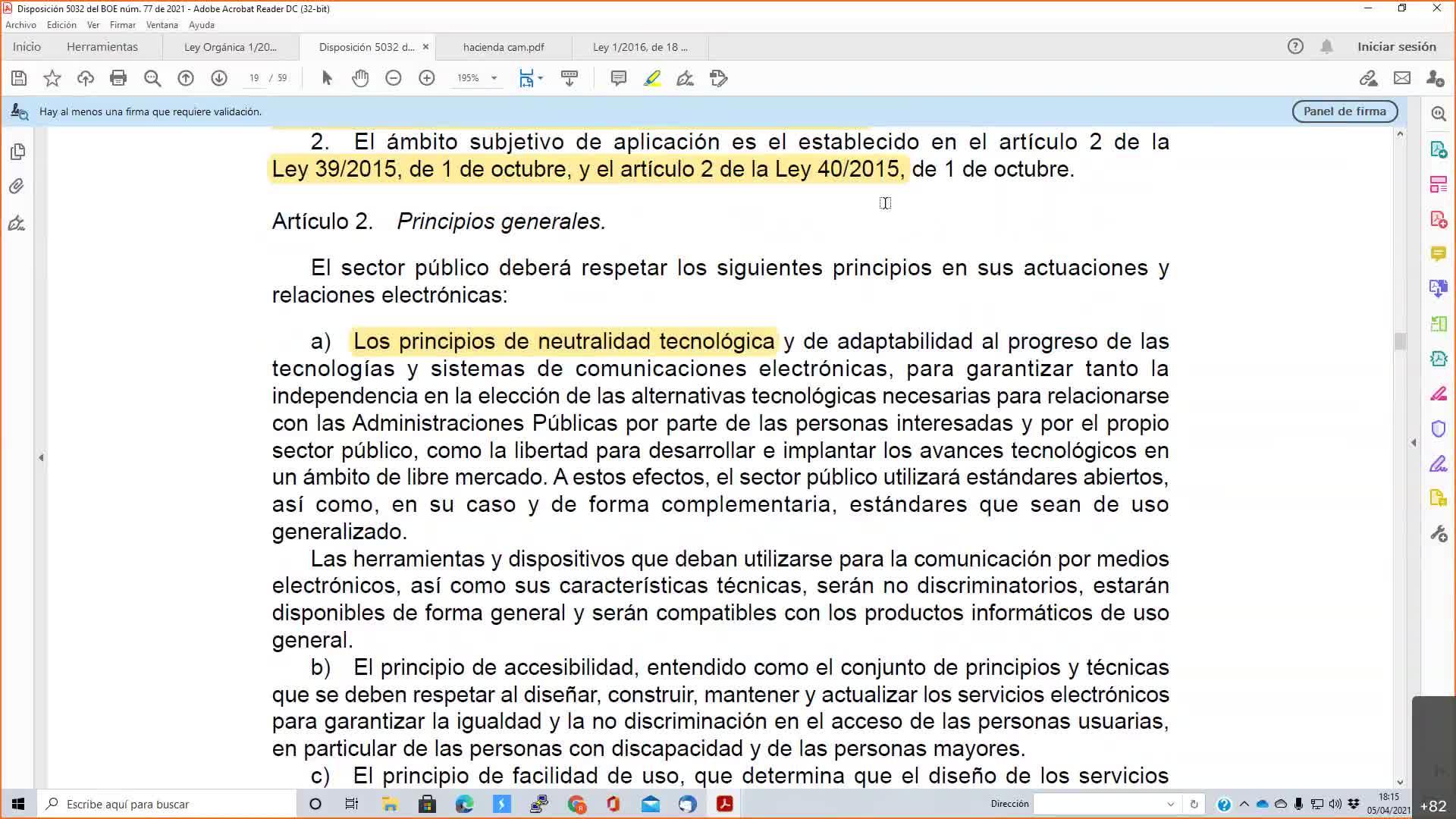 Decreto adm electrónica 05-04-2021